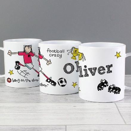 Personalised Bang on the Door Football Crazy Plastic Mug